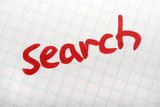 Red word SEARCH on paper. Hand writing font and internet concept poster