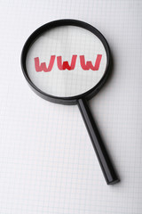 WWW network under magnifying glass. Search internet concept
