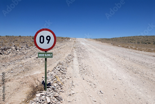 Leinwandbild Motiv Verkehrsschild, Namibia