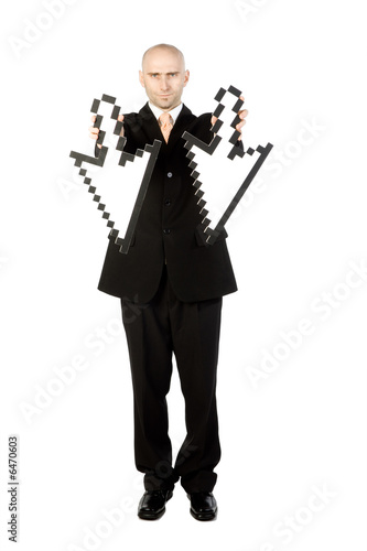 Man with arrows pointing down