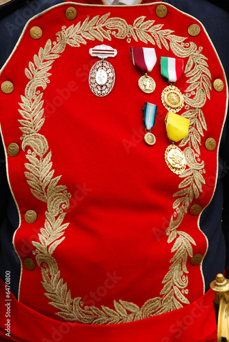 Mexican Army Officer Uniform with ribbons.