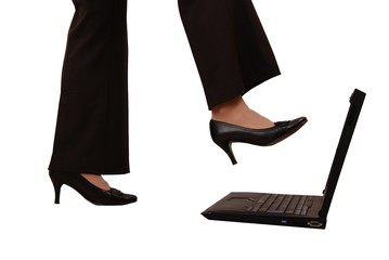 I do not want computer work - leg stepping on computer