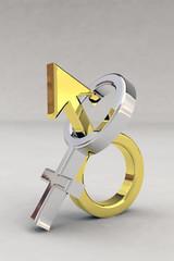 Geschlechtersymbol gold-silber