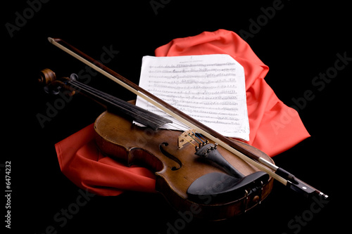 closeup of old violin on folded scarlet silk