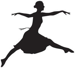 Vector illustration of the flying ballet dancer