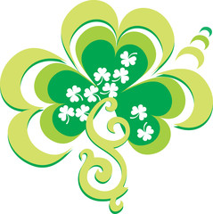 Vector illustration of the green ornament of shamrocks