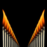 A repeating pattern of burning wooden matches. poster