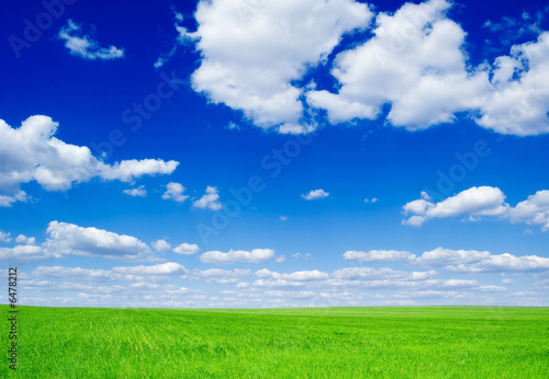 poster of Green field and fluffy clouds.