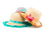 Accessories Straw hats on white background . poster