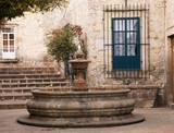 Small Courtyard Plaza Fountain end Walking Street Morelia Mexico