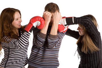 three young people boxing, white background, isolated