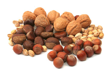 mixture of various nuts isolated on white background