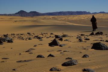 Homme en burnous marron marchant dans le désert