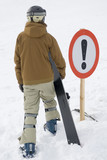 Attention a dangerous ski slope poster