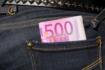 Five hundred euro notes in the jeans pocket