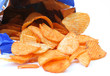 open packet of crisps on white background