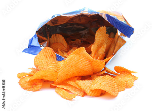packet of potato crisps isolated on white background
