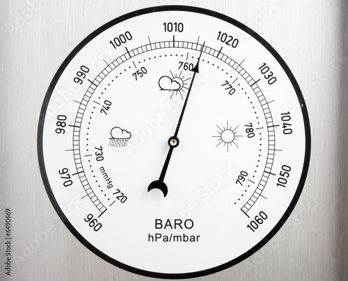 canvas print picture circular barometer, indicating unstable weather