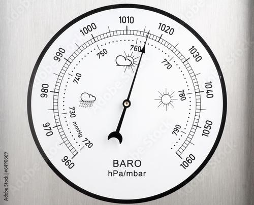 Leinwandbild Motiv circular barometer, indicating unstable weather