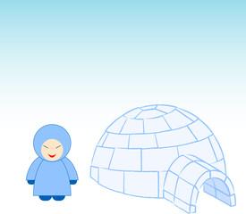 igloo with eskimo.Vector illustration