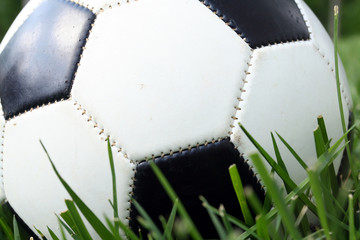 A soccerball sits on a field