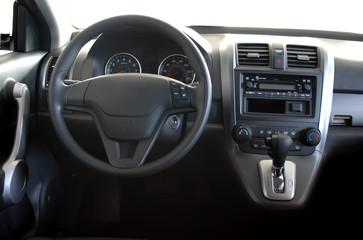 Car interior - dashboard and steering wheel
