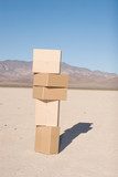 Stack of moving or shipping boxes poster