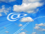 Surreal composite image of email symbol in clouds poster