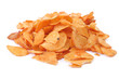 heap of potato crisps isolated on white background