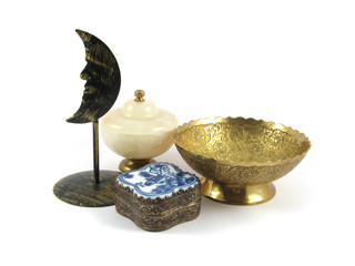 oriental decorative set isolated on white background