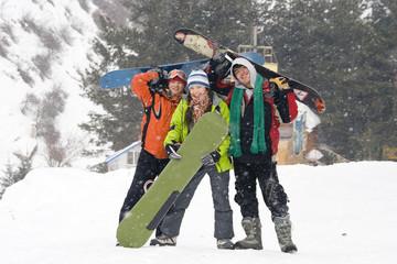 Happy snowboarding teams, health lifestyle