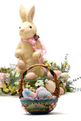 Happy Easter bunny and egg basket
