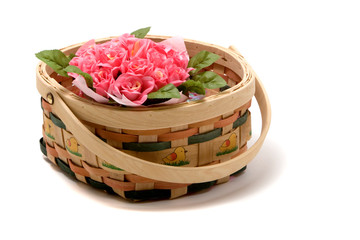 Colorful roses in a basket