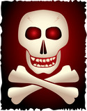 Skull and cross-bones on gradient background. Vector. poster