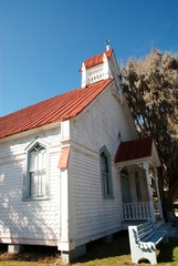 Old white church building