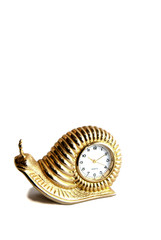 A golden snail clock time piece on a white isolated background.