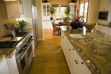 Luxury kitchen with a modern granite island.