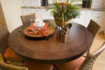 Luxury home hardwood table.