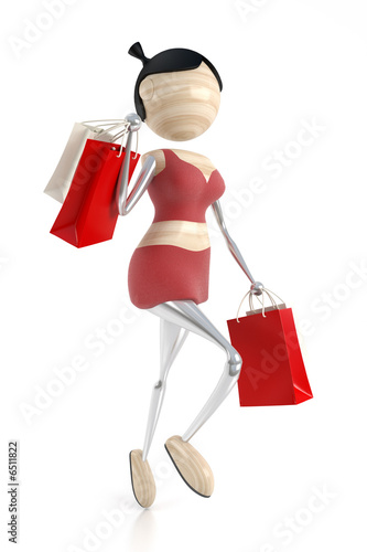 woman carries purchases from a store