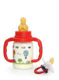 dummy and bottle with milk on white poster