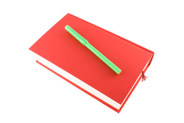 red book and marker