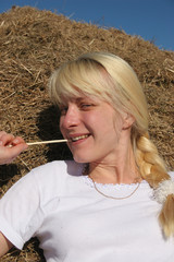 happy girl in hay