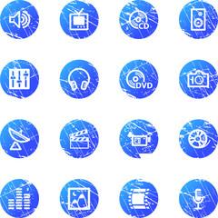 blue grunge media icons