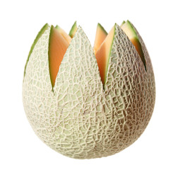 "cantaloupe melon, top cut away in ""flower"" shape, isolated"
