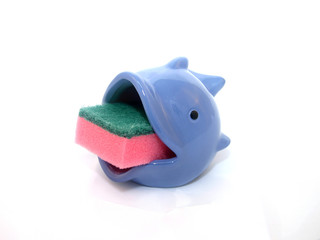 Sponge in a blue fish holder