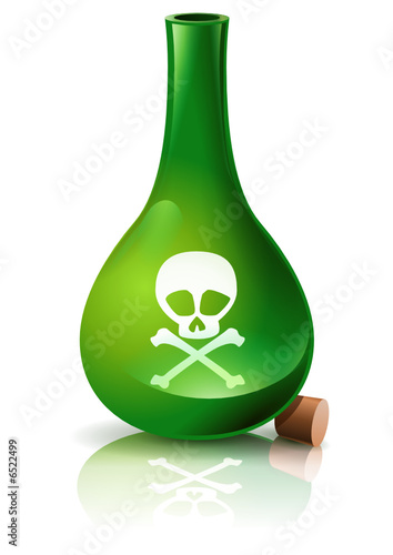 Fiole de poison verte ouverte poster