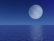 Evening Full Moon Over Sea