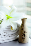 Chinese pottery, white lily and towels, China poster