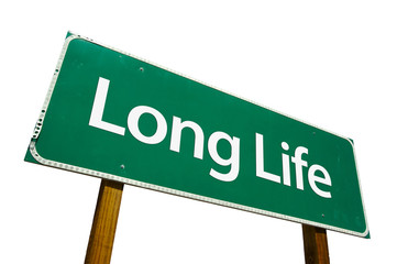 Long Life road sign isolated on white. .