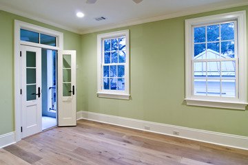 unfurnished bedroom with porch
